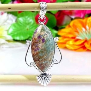 Jewelry - Ruby Fuchsite Pendant with Silver Overlay